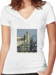 The Metro (Minerva) Theatre, Potts Point Women's Fitted V-Neck T-Shirt