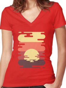 Sunset Women's Fitted V-Neck T-Shirt