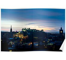 Edinburgh Castle and Rock at night Poster