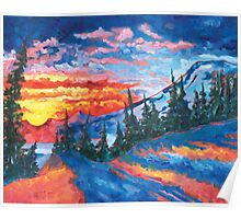 Mountain Sunset - Print from Original Oil Painting Poster