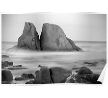 Grants Point Rocks B&W - Humbug Point, Tasmania Poster