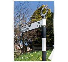 Old signpost at Robin Hoods Bay Poster