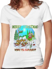 Zombie Santa is here Women's Fitted V-Neck T-Shirt