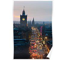 Princes Street Edinburgh at night Poster