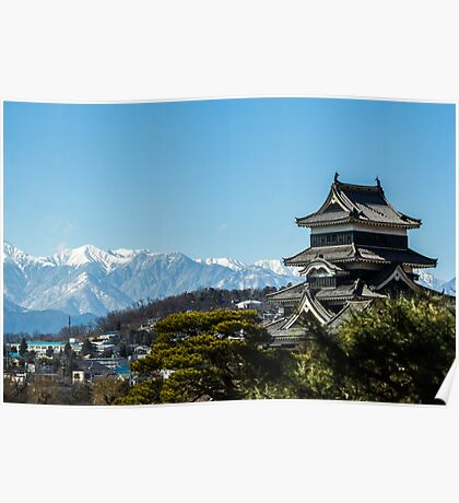Matsumoto - Castle with the Alps on the background. Poster