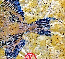 Gyotaku - Triggerfish - Oldwench -  Diptych 2  by IslandFishPrint