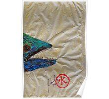 Gyotaku - Spanish Mackerel Head Poster