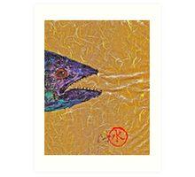 Gyotaku- Spanish Mackerel- Bright  Yellow Unryu Paper Art Print