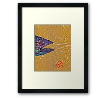 Gyotaku- Spanish Mackerel- Bright  Yellow Unryu Paper Framed Print
