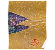 Gyotaku- Spanish Mackerel- Bright  Yellow Unryu Paper Poster