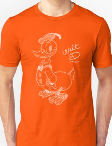 Donald Duck - White Sketch. T-Shirt