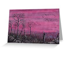 Landscape Lonely Man in the Field Greeting Card