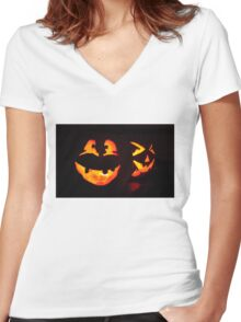 Jack-O Lanterns Women's Fitted V-Neck T-Shirt