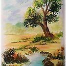 """Watercolor """"Beside the Pond"""" by teresa731"""