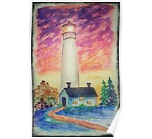 Watercolor - Lighthouse Poster
