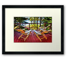 Forest cottage deck and chairs Framed Print