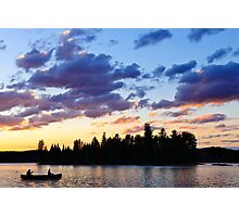 Canoeing at sunset Photographic Print
