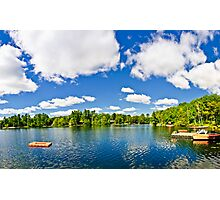 Cottage lake with diving platform and dock Photographic Print