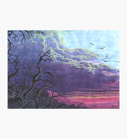 Landscape Purple Blue Sky Photographic Print