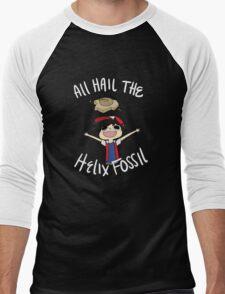 All Hail The Helix Fossil - White Text Men's Baseball ¾ T-Shirt