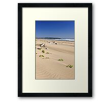 Sandy beach on Pacific ocean in Canada Framed Print