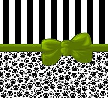 Ribbon, Bow, Dog Paws, Stripes - White Black Green by sitnica