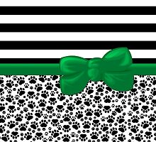 Dog Paws, Traces, Stripes - Ribbon, Bow - White Black Green by sitnica