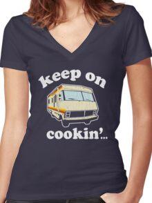 Funny - Keep on Cookin'! (Br Ba) distressed vintage design Women's Fitted V-Neck T-Shirt
