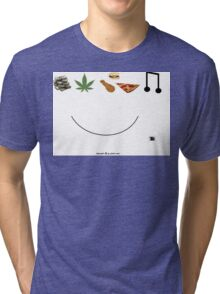 money weed food music happy Tri-blend T-Shirt