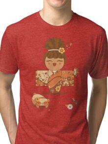 Flower Kimono Kokeshi Girl 1 Tri-blend T-Shirt