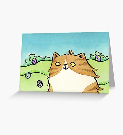 Cat with Colourful Easter Eggs Greeting Card