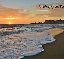 Porthcawl Sunset Postcard or Greeting Card by Paula J James