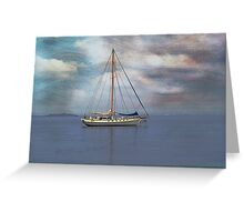 Boat on the River Tay Dundee Scotland. Greeting Card