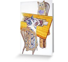 Cats playing Cribbage Greeting Card