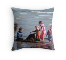 Building a Seaweed Castle! Fort Glanville Beach. S.A. Throw Pillow