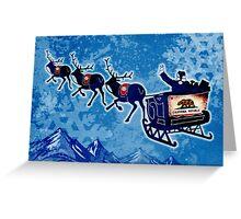 California flag Christmas Santa sleigh Greeting Card