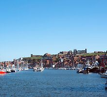 Whitby harbour and abbey ruins by photoeverywhere