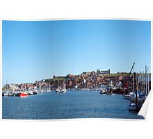 Whitby harbour and abbey ruins Poster