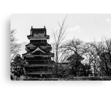 Matsumoto - Black and white of the castle Canvas Print