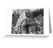 colorado frozen waterfall, waterwheel film Greeting Card