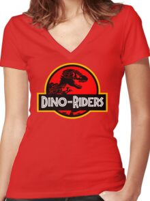 Dino-Riders Women's Fitted V-Neck T-Shirt