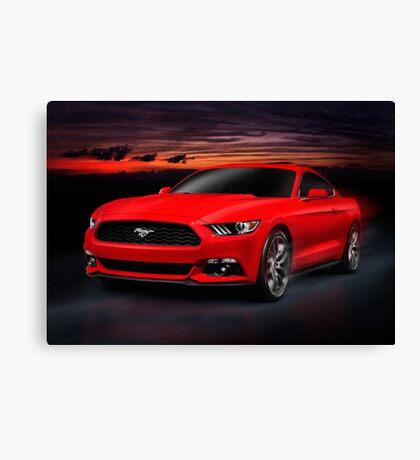 2015 Ford Mustang sports car on road at night art photo print Canvas Print