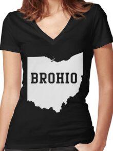 Brohio Women's Fitted V-Neck T-Shirt
