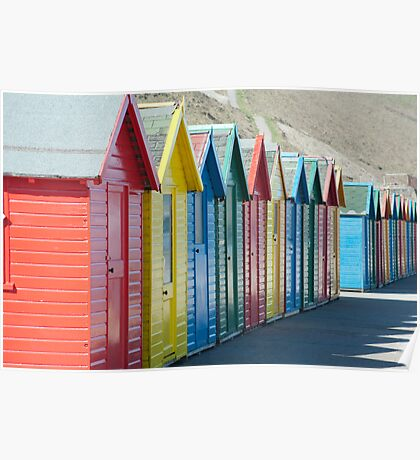 Colourful wooden beach huts Poster