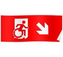 Accessible Means of Egress Icon Emergency Exit Sign, Right Hand Diagonally Down Arrow Poster