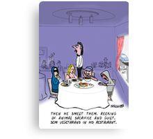 Funny vegetarian card Canvas Print