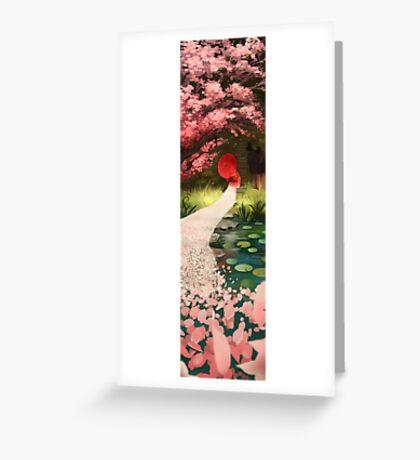 Cherry Blossom Geisha Greeting Card