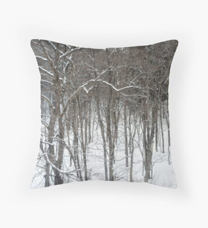 woodland snow scene Throw Pillow