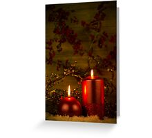 Two candles Christmas decoration Greeting Card