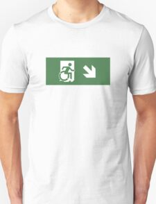 Accessible Means of Egress Icon Emergency Exit Sign, Right Hand Diagonally Down Arrow Unisex T-Shirt
